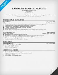Resume Template Resume Template For Laborer Free Career Resume