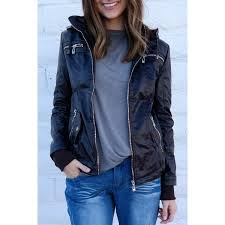 chic hooded solid color detachable sleeve faux leather jacket for women