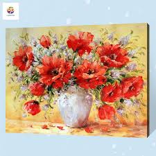 frameless digital painting by number poppy vase flower bird acrylic paint abstract modern wall art canvas