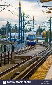 How To Pay For Link Light Rail Sound Transit Link Light Rail Train Entering The Stock Photo
