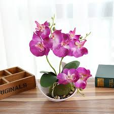 creative beautiful erfly orchid simulation realistic flower ncluding flowerpot desktop wedding home party decoration artificial plants