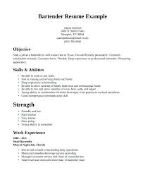 Sample Bartender Resume Free Bartender Resume Templates Free Sample ...