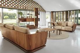Die Modern Runde Form Des Design Sofas Mit Nussbaum Furnier