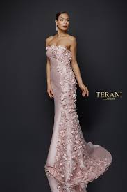 <b>Delicate 3d</b> Fabric Petal Accented Strapless Gown - 1921E0115