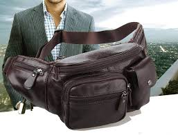 men waist bag leather zipper pouch