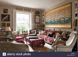 Shabby Chic Living Rooms London Home Shabby Chic Living Room With Velvet Armchairs And
