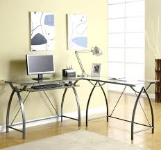 glass office tables. Marvellous Glass Office Desk Ideas Using Transparent Computer Combined With Curved Black Metal Legs Design Ikea Table Tables