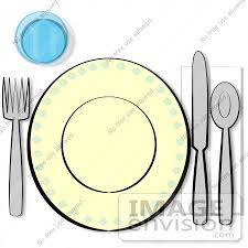 table place setting. #17264 table place setting with a cup, fork, plate, knife, spoon