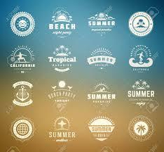 Retro Holidays Summer Holidays Design Elements And Typography Set Retro And