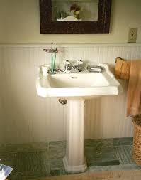seafoam guest bath vermont cottage guest bath with white beadboard white pedestal sink and