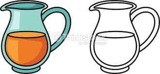 jug clipart black and white. colorful and black white jug for coloring book : vector art clipart e