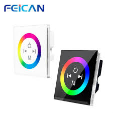 dc 12v 24v wall mounted touch panel switch controller full color led dimmer for