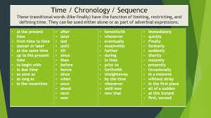 Chronology Words Transition Words And Phrases Ppt Video Online Download