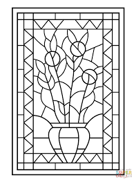 Small Picture Flower Vase Stained Glass coloring page Free Printable Coloring