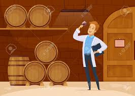 storage oak wine barrels. Vector - Winery Production With Winemaker In Storage Cellar Tasting Wine Aging Oak Barrels Cartoon Composition Illustration