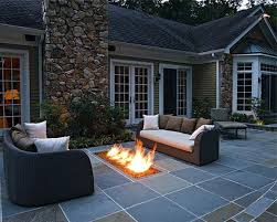patio ideas with square fire pit. Square Tiles Concrete Floor Patio With Black Brown Sofa And White Cushions Also Rectangular Fire Pit Plus Glass Windows Wooden Frame On Ideas T