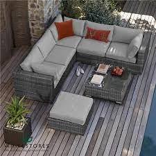 garden furniture sofas uk. maze rattan - london corner sofa set grey | white stores garden furniture sofas uk