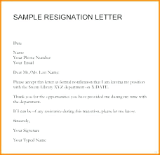 Format Of Resignation Letters How Example Of Sample Resignation Letter With Reason Effective