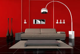 modern living room floor lamps ideas with red theme room