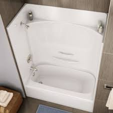 4 piece tub shower combo. essence 4 piece white fibreglass left hand tub and shower less cap detailed view combo