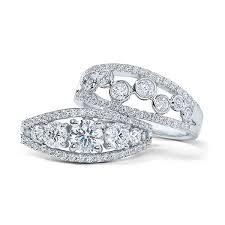 18k white gold bezel and g set fashion diamond bands 18k white gold new york jewelers jewelry