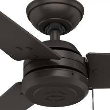 hunter 59261 cassius 52 inch outdoor ceiling fan in premier bronze with 3 premier bronze blade