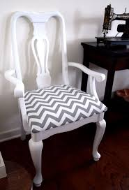 reupholstered chair in a zigzag chevron grey and white print
