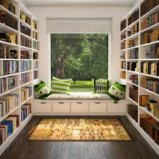 Interior : Attractive U Shape Home Library Design With Open Wall Book  Shelves Also Bay Windo Bench Plus Green Decorative Pillows On Wooden Floor  Enjoyable ...