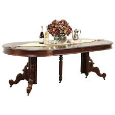 victorian antique round walnut dining table 4 leaves extends 7 5
