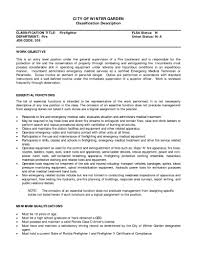 Firefighter Job Description For Resume