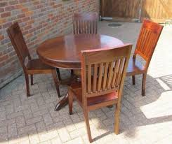 solid wooden round dining table and 4 chairs dark wood antique style