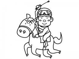 競馬騎手と馬のぬりえ線画イラスト素材 イラスト無料かわいい