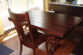 56 x 36 tuscany dining table and corsica chair in galley hickory with custom plank tabletop