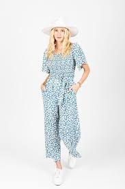 The Alicia Square Neck Jumpsuit in Blue Floral - Small in 2021 ...