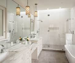 white bathroom with pendant lights