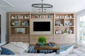 Light Gray Wash Built In Tv Shelving Unit