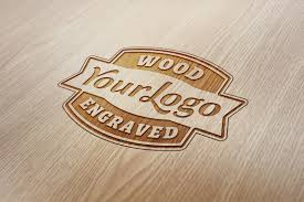 wood engraved logo mockup graphicburger