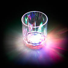 2 oz flashing multicolor shot glass with switch display box of 24 cups