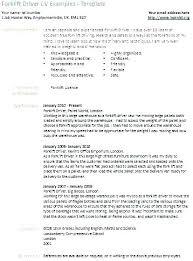 Sample Resume For Forklift Driver