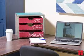 how to make office desk. Small Desktop Organizer With Drawers Painted Red Chalkboard Paint And  Labeled Chalk How To Make Office Desk