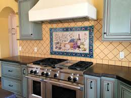 Painting Kitchen Tile Backsplash Classy Hand Painted Tiles For Kitchen Backsplash Wonderful Interior
