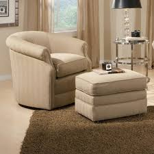 Living Room Chair With Ottoman Barrel Swivel Chair And Ottoman With Casters By Smith Brothers