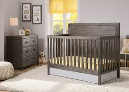 rustic crib furniture. delta children rustic grey cambridge crib side view in setting furniture