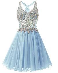 Short Light Blue Grad Dresses Fanciest Womens Beaded 2019 Prom Dresses Short Bridesmaid Homecoming Dress Light Blue Us2