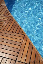 Wooden Pool Decks Fragment Of A Swimming Pool And Wooden Floor Stock Photo Picture