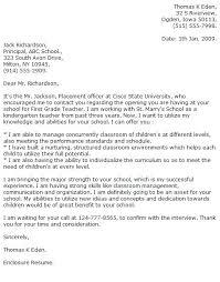 Principal Cover Letter Teacher Cover Letter Examples Cover Letter