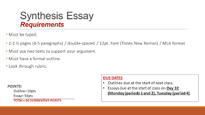 unit ea synthesis essay ppt video online  synthesis essay requirements