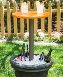 DIY Outdoor Entertainment Table planter + PVC pipe & end cap + Round  Plywood + concrete + pipe cement + paint