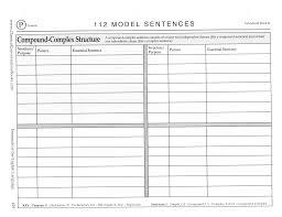 Chart P 112 Model Sentences Compound Complex Structure