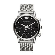 buy emporio armani watches online fields ie armani black chronograph steel mesh bracelet watch